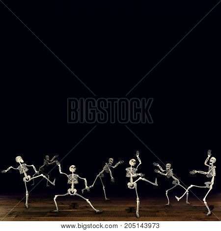 Halloween skeletons. Black background. Dancing at a party.