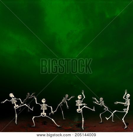 Halloween skeletons. Green background. Dancing at a party.