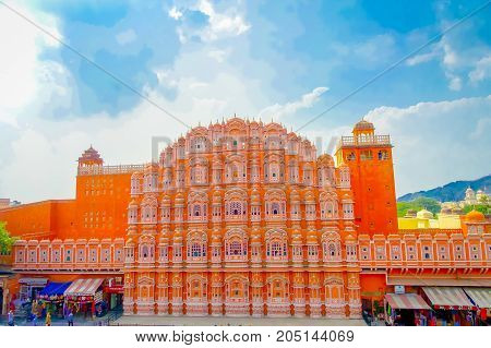 Agra, India - September 20, 2017: Hawa Mahal is a five-tier harem wing of the palace complex of the Maharaja of Jaipur, built of pink sandstone in the form of the crown of Krishna, in India.