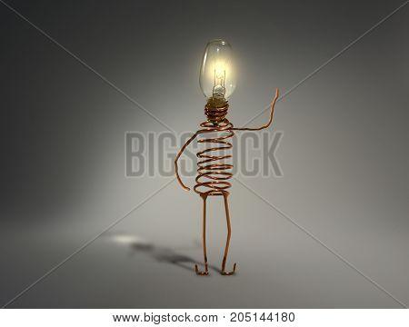 light globe idea robot. Waving. Symbol of ideas and creativity.