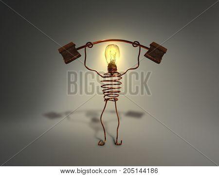 light globe idea robot. Lifting weights. Copper.