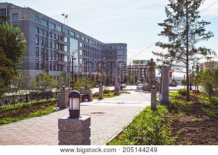 The city of Novosibirsk Siberia Russia - September 17 2017: on the Avenue of Marshal Pokryshkina and the building of administration of the Novosibirsk region