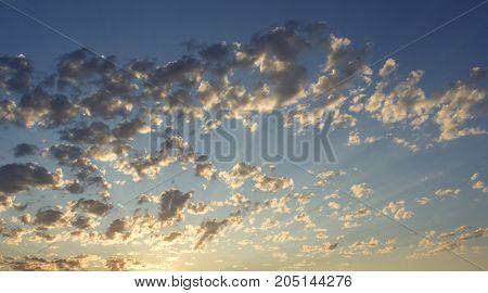 Desert sky at sunset. Nevada. Dusk. Clouds.
