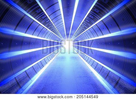 Glowing Futuristic Science Fiction Background Corridor Interior