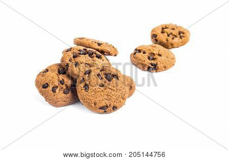 Chocolate Chip Cookies On Isolated White Background