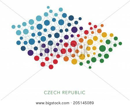dotted texture Czech Republic vector rainbow colorful background