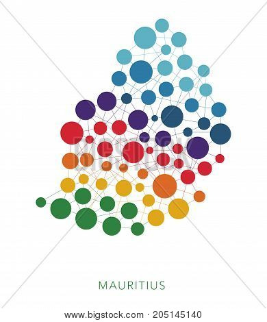 dotted texture Mauritius vector rainbow colorful background