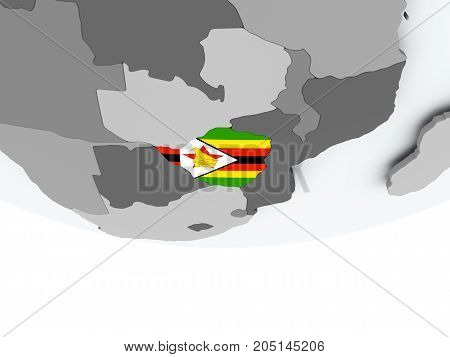 Zimbabwe With Flag On Globe