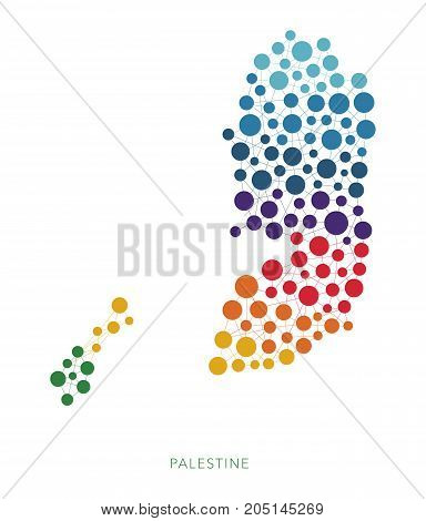 dotted texture Palestine vector rainbow colorful background