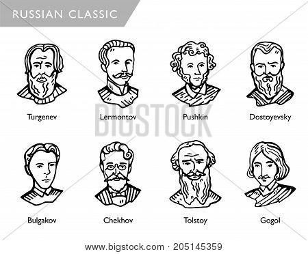 most famous russian writers, vector portraits, Turgenev, Lermontov, Pushkin, Dostoyevsky Bulgakov Chekhov Tolstoy Gogol