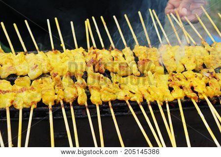 Grilled pork satay on stove street food