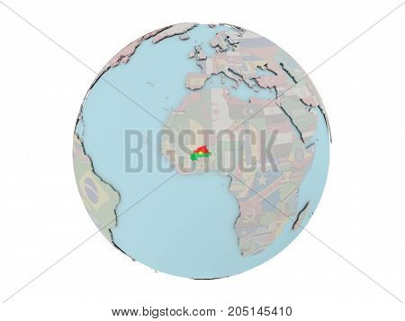 Burkina Faso With Flag On Globe