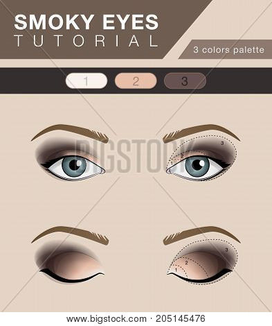 Smoky eyes makeup tutorial, vector fashion beauty template