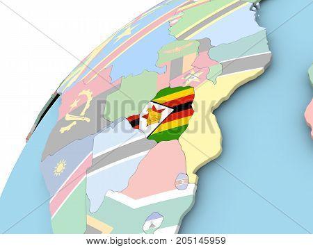 Zimbabwe On Globe With Flag