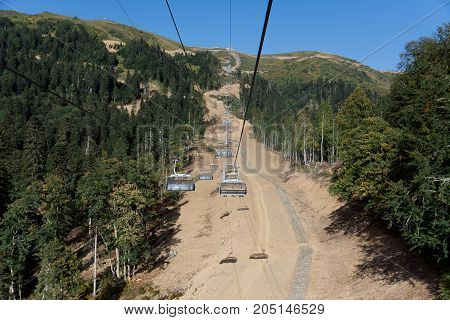 Photo of a cable car in the mountains
