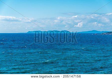 Dark blue water of Superior Lake Canada