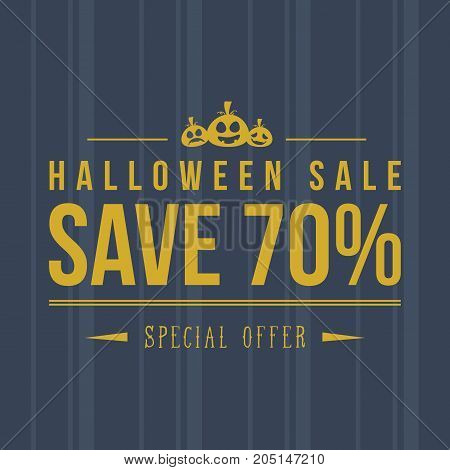 Halloween sale with pumpkin background vector illustration