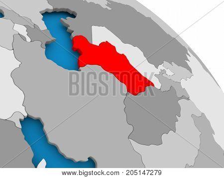Turkmenistan In Red On Map