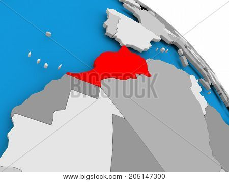Morocco In Red On Map