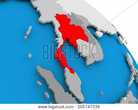 Thailand In Red On Map