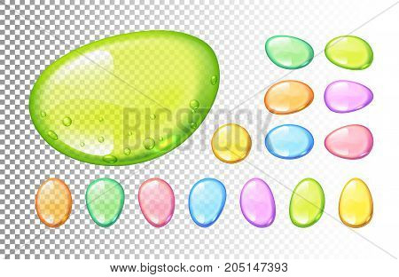 Set of vector colorful candy drops on transparent background. Eps10. RGB. Global colors