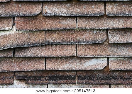 a rusty old aged roof shingles background.