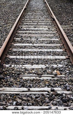 a blank empty railroad tracks background .