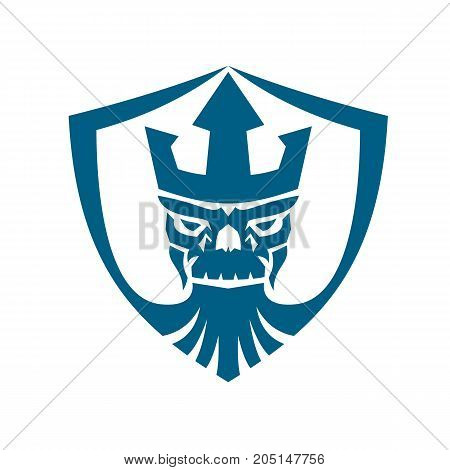 Icon style illustration of Skull of Neptune wearing Trident Crown with beard set inside Crest shield on isolated background.