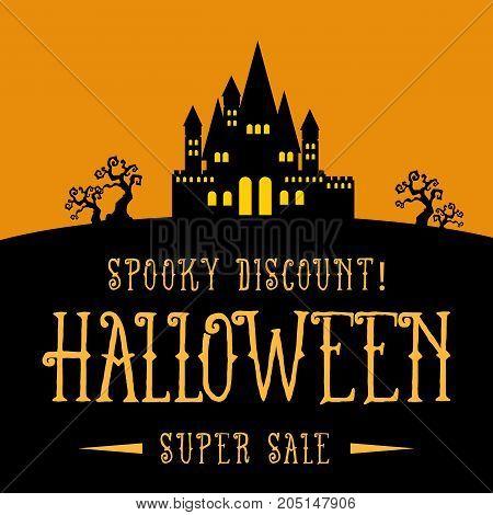 Halloween Sale on the dark scenery vector illustration