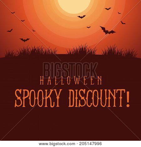 Halloween spooky sale background style vector illustration