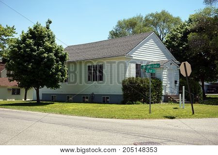 The building of a small former church, at the corner of Old Tannery Creek and Kent Street, in Bay View, Michigan, during June.