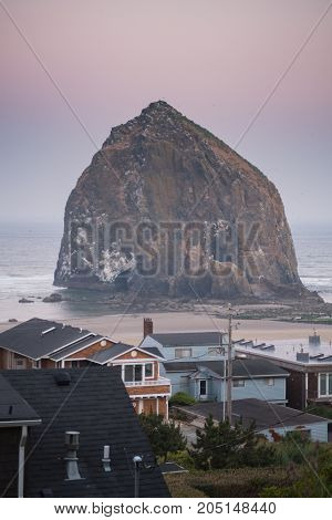 Homes Looking Out Over Haystack Rock in Cannon Beach