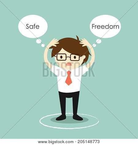 Businessman hesitates to leave the circle. Vector illustration