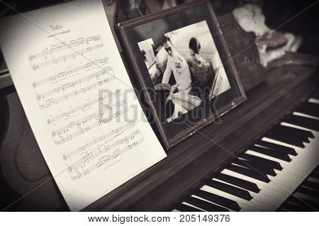 Pai, Thailand - October 19, 2016: Picture Of His Majesty The King And Queen Of Thailand, Music