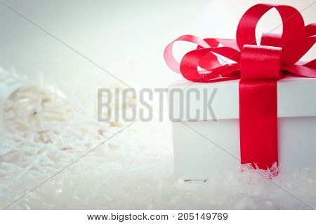 Christmas and New Years Day , red gift box white background.