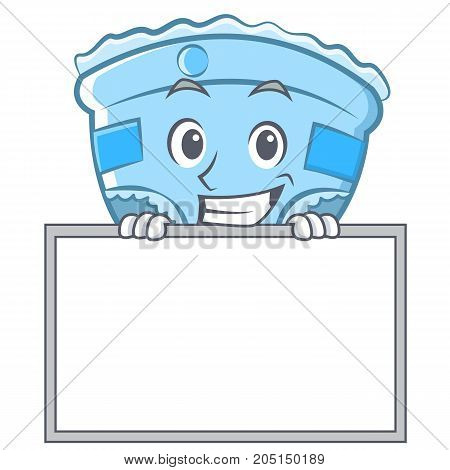 Grinning with board baby diaper character cartoon vector illustration