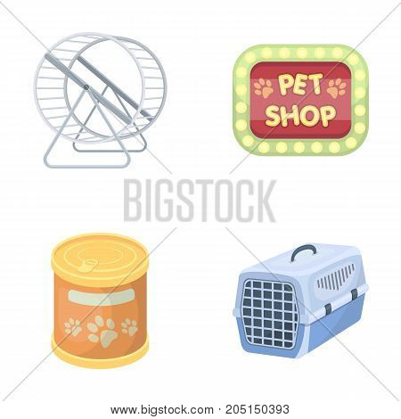 Container for carrying animals and other attributes of the zoo store. Pet shop set collection icons in cartoon style vector symbol stock illustration web.