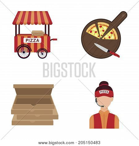 Mobile trailer, cutting board for pizza, boxes, salesman. Pizza and pizzeria set collection icons in cartoon style vector symbol stock illustration web.