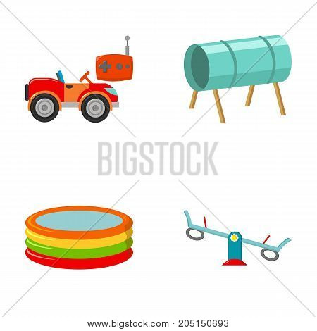 Machine for radio control, tunnel, trampoline, swing. Playground set collection icons in cartoon style vector symbol stock illustration .