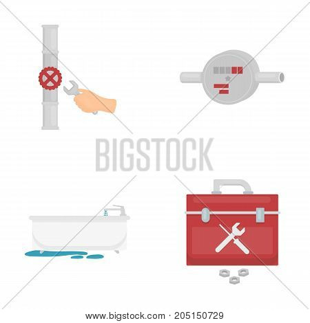 Water meter, bath and other equipment.Plumbing set collection icons in cartoon style vector symbol stock illustration .
