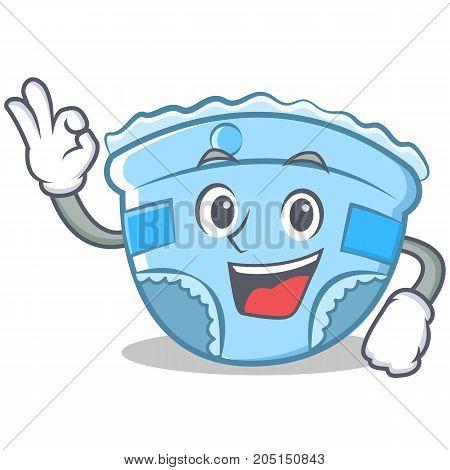 Okay baby diaper character cartoon vector illustration