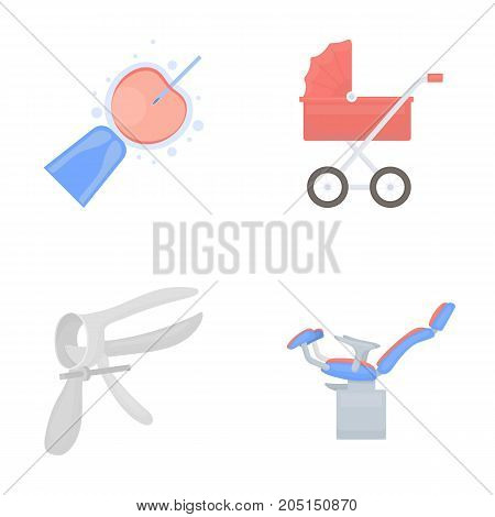 Artificial insemination, baby carriage, instrument, gynecological chair. Pregnancy set collection icons in cartoon style vector symbol stock illustration flat.