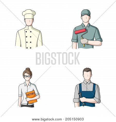 Cook, painter, teacher, locksmith mechanic.Profession set collection icons in cartoon style vector symbol stock illustration .