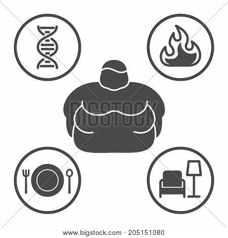 Causes Of Obesity, Vector Line Icons Set