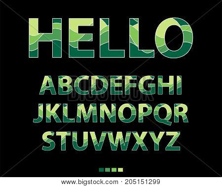 Vector of stylized uppercase green and yellow font. Colorful alphabet on black background.