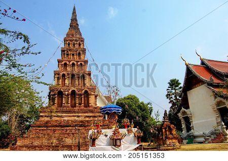 Brick Chedi At Wat Phaya Wat Temple In Nan, Thailand