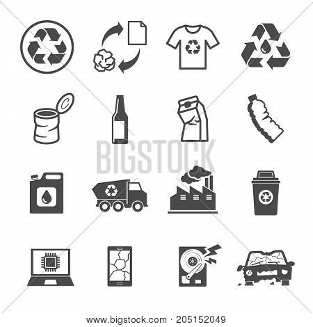 Recycling Garbage, Contains Such Icons As Waste, Paper, Plastic, Metal , Glass, E-waste And More.