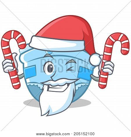 Santa with candy baby diaper character cartoon vector illustration