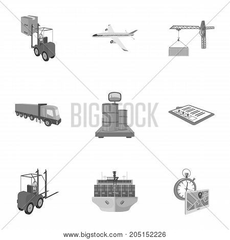 Forklift, cargo plane, goods, documents and other items in the delivery and transportation. Logistics and delivery set collection icons in monochrome style isometric vector symbol stock illustration .