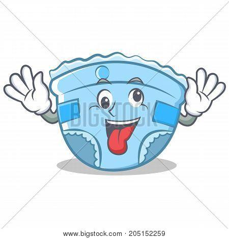 Crazy baby diaper character cartoon vector illustration